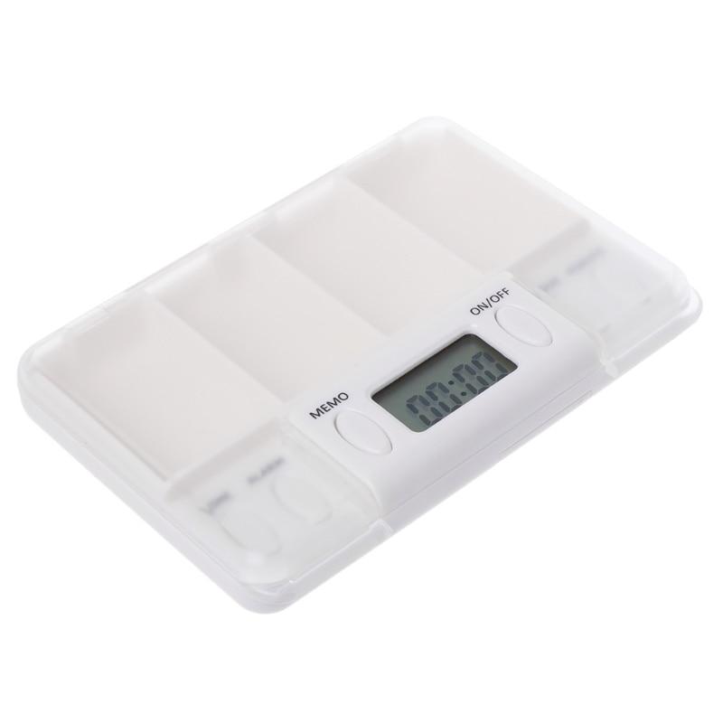 Multi-Alarm 8 Times Timer 4 Grids Medicine Box Reminder Storage Pills Case 68UD