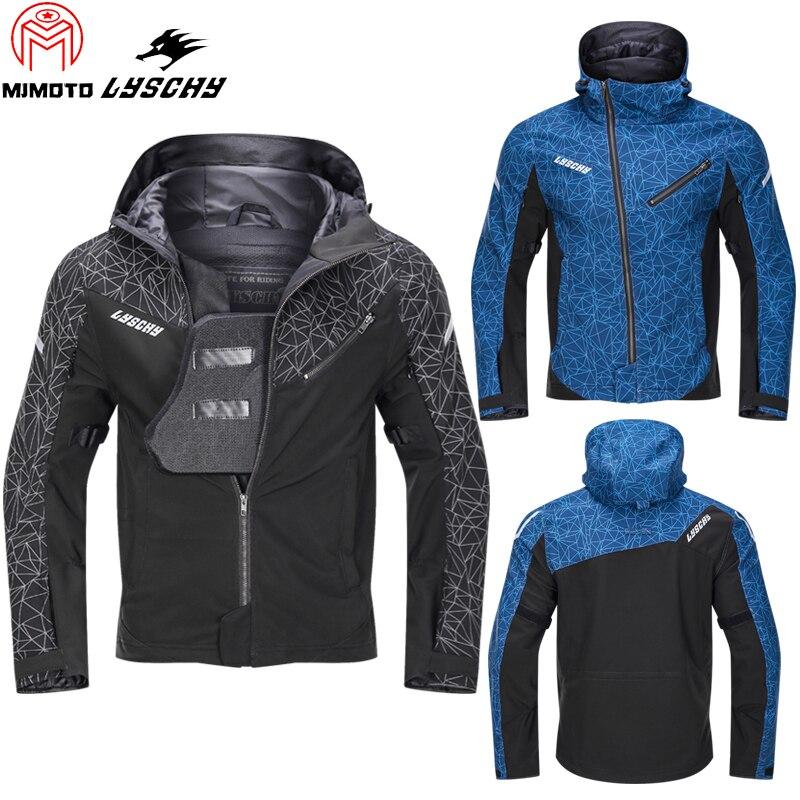 Мужская мотоциклетная куртка LYSCHY, черная водонепроницаемая куртка для езды на мотоцикле, с накладками на груди, на лето, 5XL