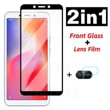 2 в 1 закаленное стекло для Xiaomi Redmi 6 Pro 6A 4X полное покрытие для объектива камеры Защитная пленка для экрана для Redmi Note 6 Pro 4 4X Стекло