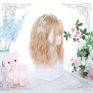 Light Blonde Lolita Wig Women Harajuku 35cm Long Curly Wavy Hair Cute Bangs Adult Chic Girls Cosplay Daily Wear