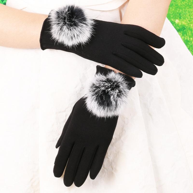 Новые зимние теплые перчатки, оптовая продажа, женские флисовые перчатки без наполнителя с помпоном из кроличьего меха, флисовые перчатки д...