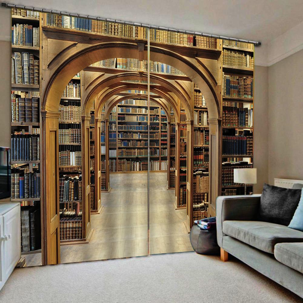 ستائر تعتيم مكتبة bookself الستائر البني ثلاثية الأبعاد نافذة الستائر غرفة المعيشة غرفة نوم الزفاف Cortinas الستائر