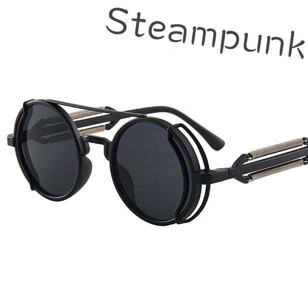 Фото - Retro Steampunk Sunglasses UV400 Round Frame Design Colored Lenses Glasses Eyewear Gothic Men Women Sun glasses 2021 sunglasses woman sun glasses man glasses uv400 lenses man and woman silicone uv400 child mirror man eyewear