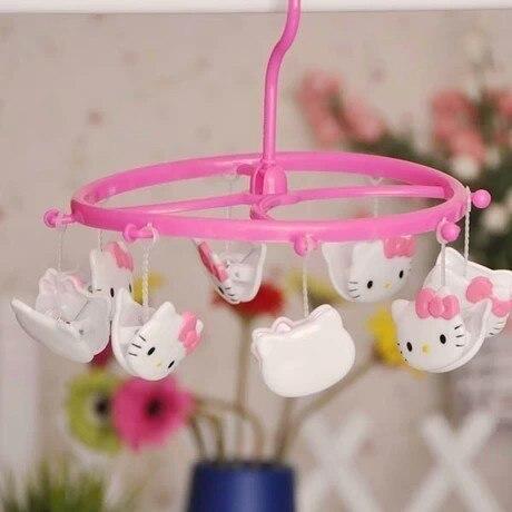 Mini Schöne Kitty Katze und Nette Tiere Kunststoff Runde Shapede Wäscheklammer Mit Mehrere Schellen für Kinder Kleiderbügel oder Socken Holeder