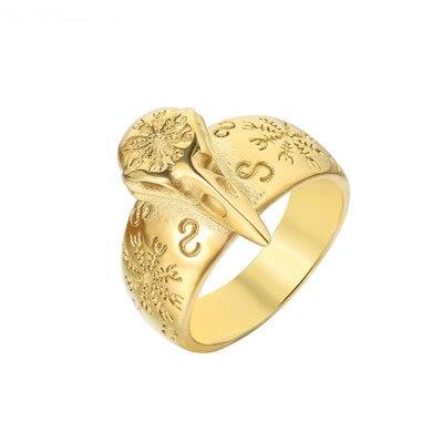 Onlysda Viking anillo de los cuervos entrelazados para hombre mitología nórdica anillos de acero inoxidable de Color plateado de Odín Crow joyería de amuleto nórdico r301