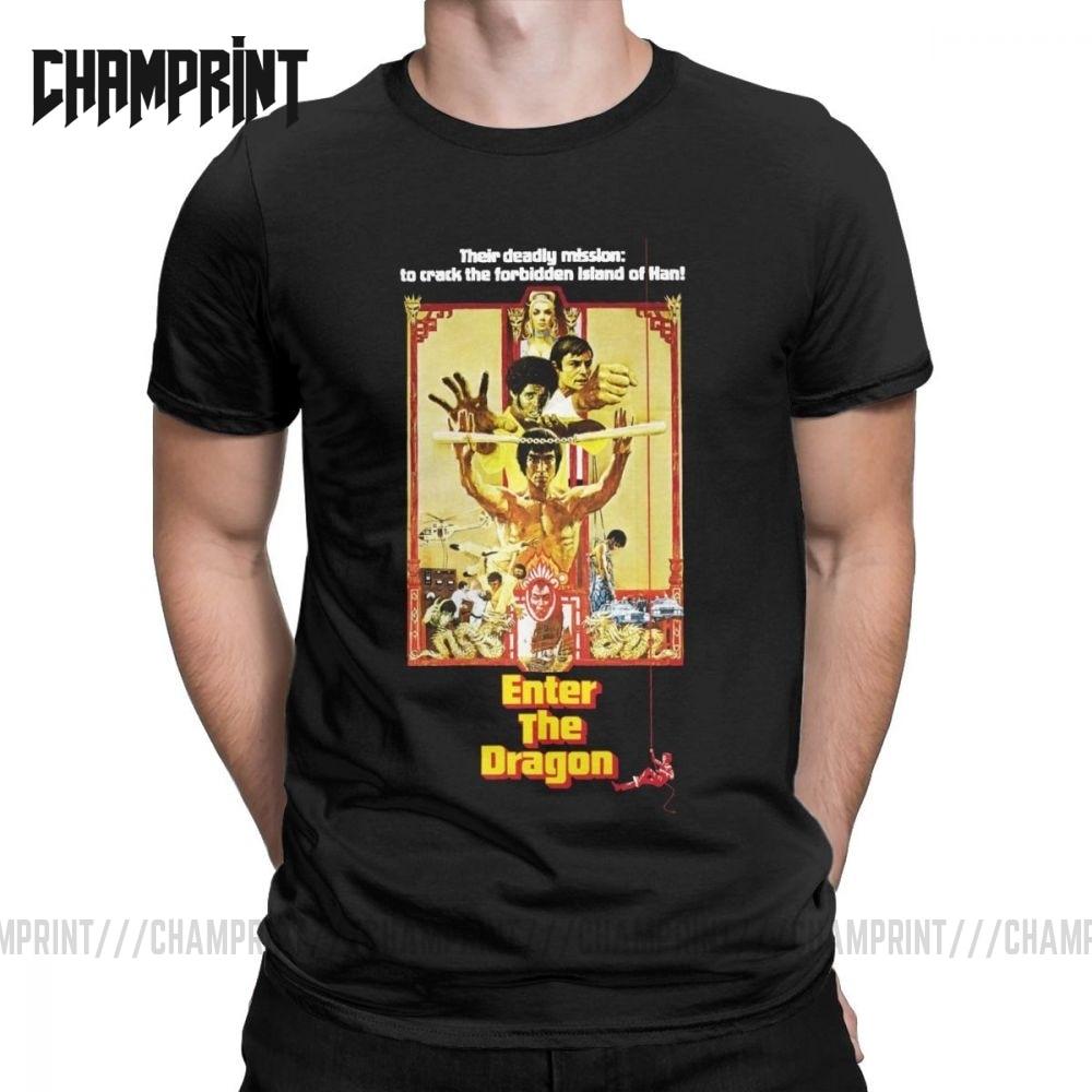 Camiseta masculina rachar a ilha proibida de han bruce lee algodão t manga curta dragão filme kung fu karate china t camisa