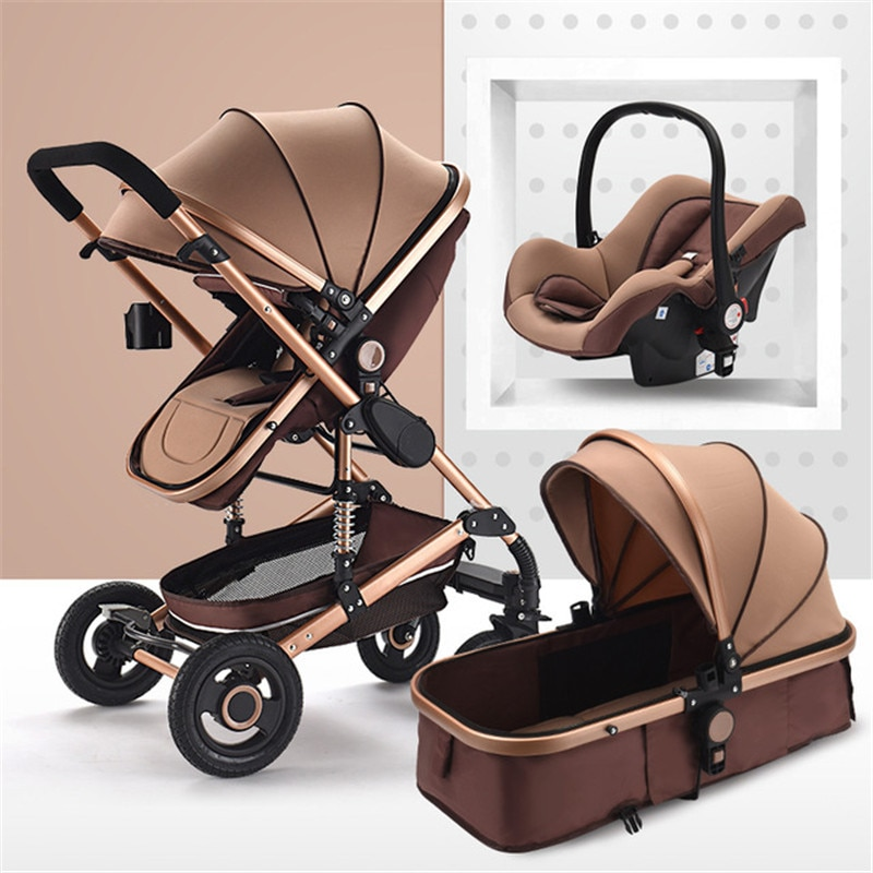 Gray Strollers Baby 3 in 1 Multifunctional Baby Stroller Folding Carriage High Landscape Gold Red Baby Stroller Newborn Stroller enlarge