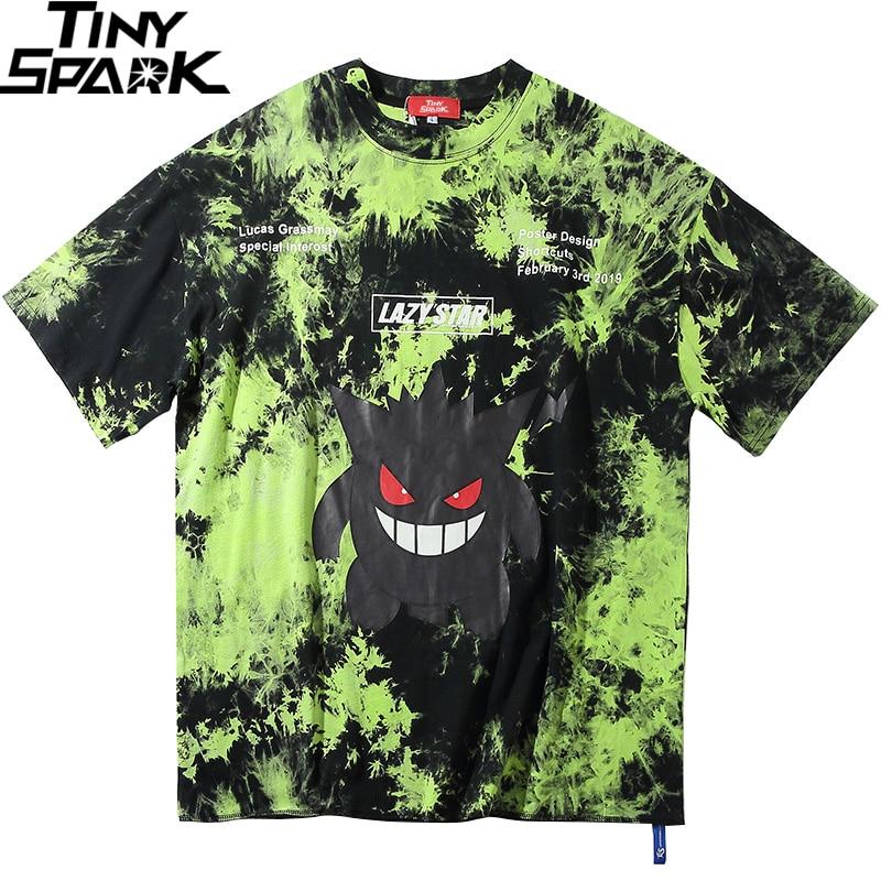 2020 Men Hip Hop T Shirt Tie Dye Devil Print Oversize T-Shirt Streetwear HipHop Loose Tshirt Summer Short Sleeve Tops Tee Cotton