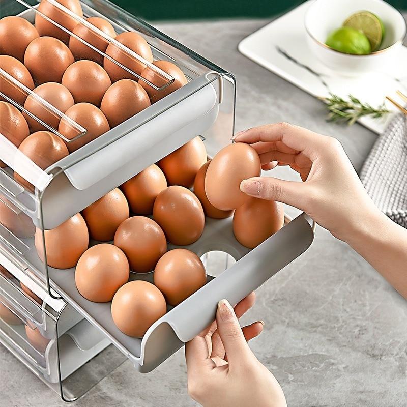 البيض صندوق تخزين حامل المنظم المطبخ مستطيلة الثلاجة مزدوجة درج نوع تصنيف صندوق تخزين شفافة رف