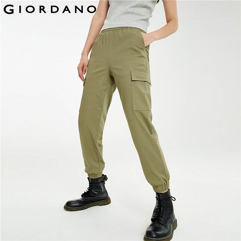Giordano Women Pants Stretchy Elastic Waistband Banded Cuffs Pants Muli Pockets Banded Cuffs Soild Pantalones Mujer 05421323