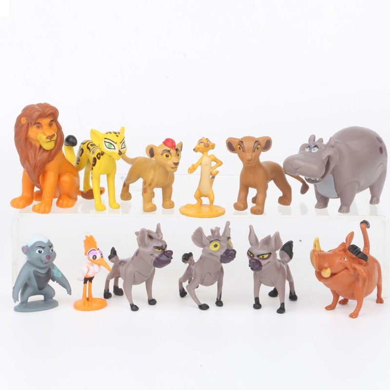 12 unids/set El Rey León Anime figura juguetes Simba Mufasa Nala Sarabi cicatriz hienas Rafiki Zazu Timon Pumba de PVC modelos coleccionables
