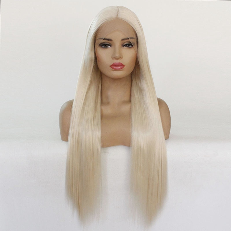 Long Natural White Blonde 0809#Color Synthetic Lace Front Wigs High Temperature Fiber 24 inch Lace Front Wig Heat Resistant  - buy with discount