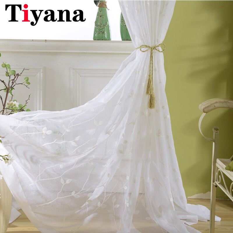 Cortinas de gasa bordadas blancas para dormitorio, cortina de ventana para sala de estar, cortinas transparentes, cortinas, Cortinas ZH010Z