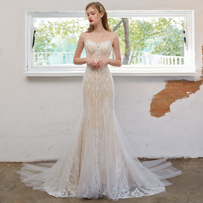 2021 Strapless Mermaid Wedding Dress With Tulle Jacket Appliqued Hollow Back Luxury Plus Size 2021 Customized Bridal Gown 4191