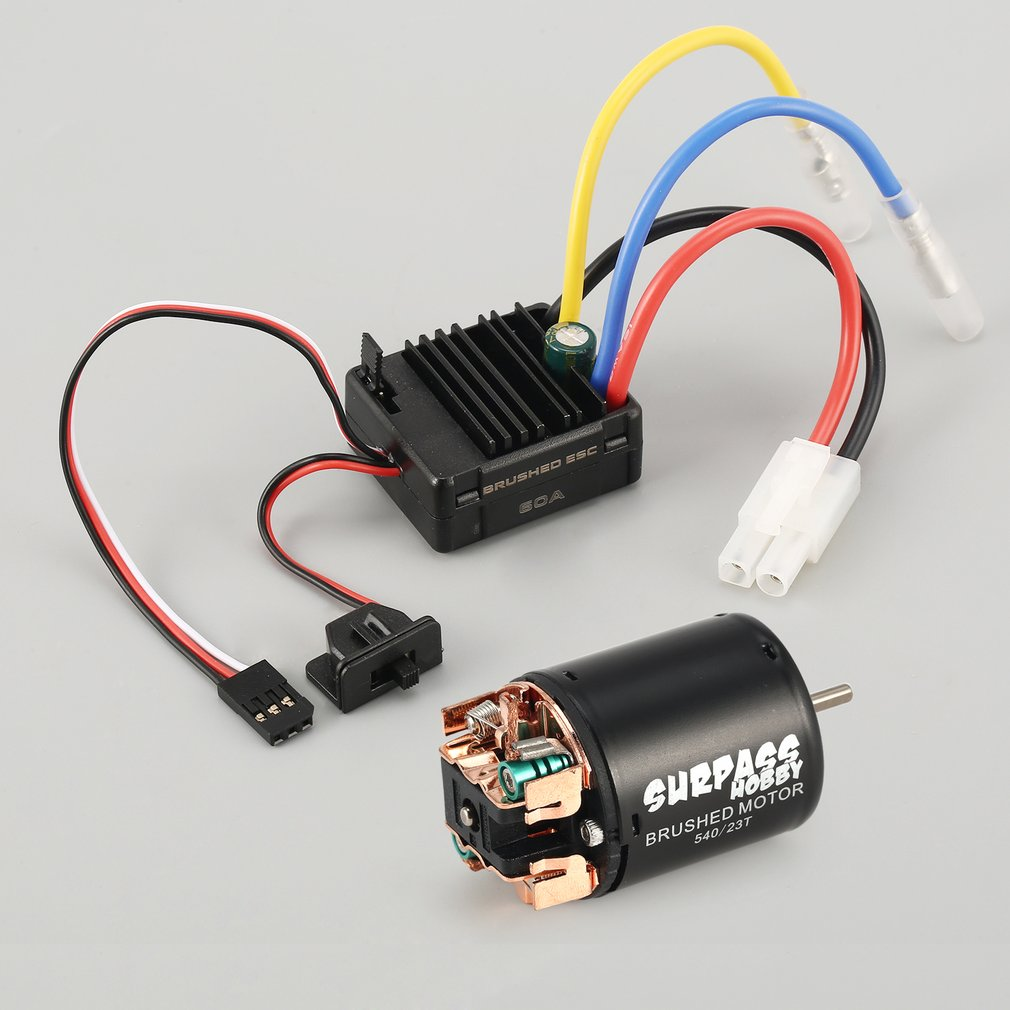 Surpass Hobby 540 55T Brushed Motor 60A Esc With 5V/2A Bec For Axial Scx10 D90 1/10 Rc Crawler Off-Road Climbing Car enlarge