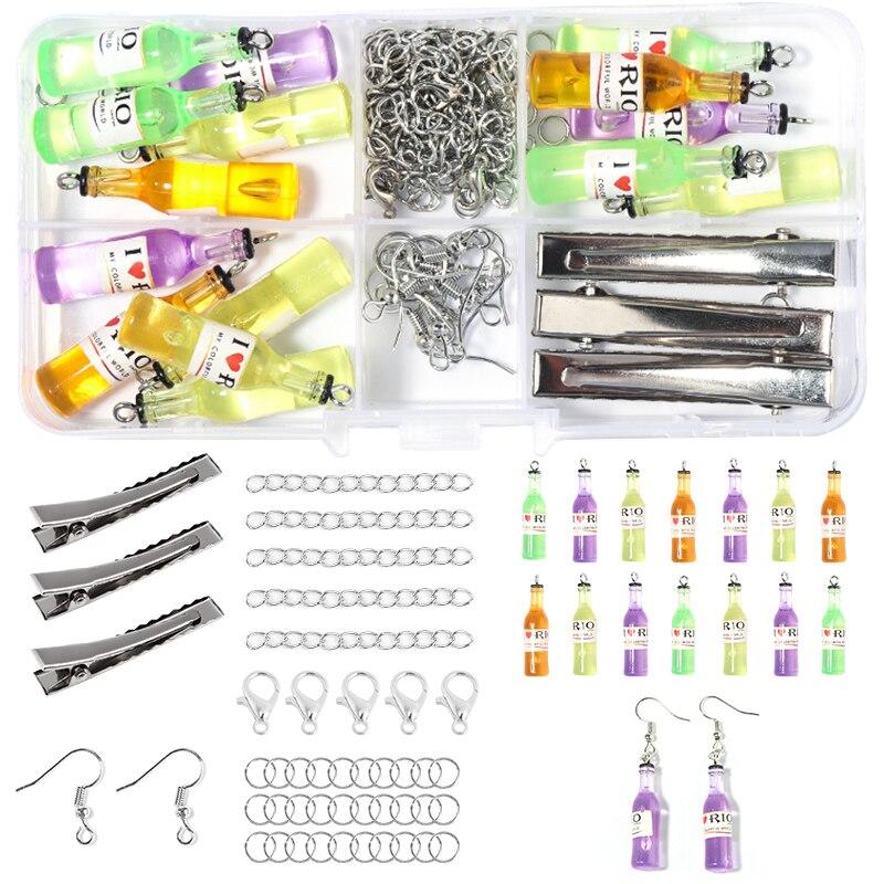 10 ячеек, подвески для коктейльной бутылки, наборы для изготовления ювелирных изделий «сделай сам», фурнитура для изготовления сережек с крю...