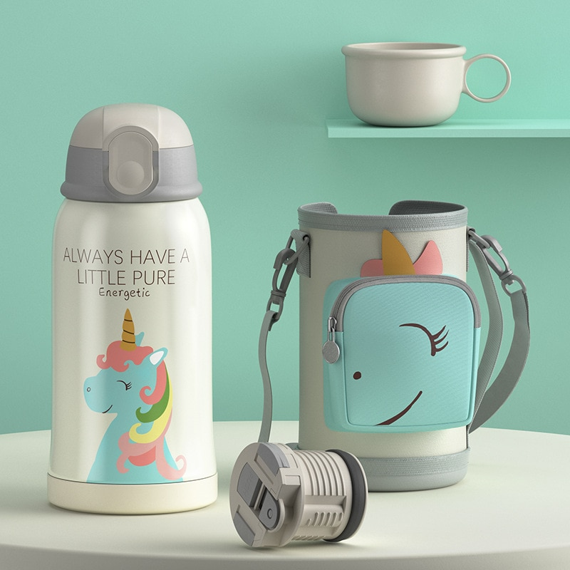 550ml Double Wall Child Thermal Bottle Outdoor Travel Cartoon Cup 304 Stainless Steel Vacuum Flask Mug with Straw Insulated
