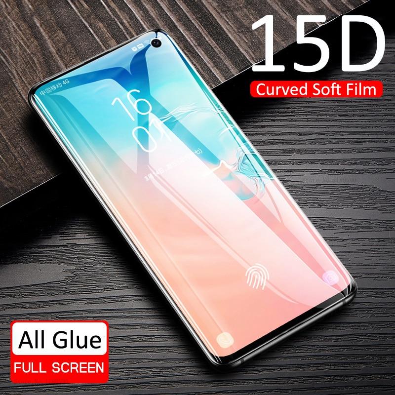 Protector de pantalla de 15D para Samsung Galaxy S10E, S10 Lite, S8, S9, S10 Plus, S7 Edge, Note 8, 9