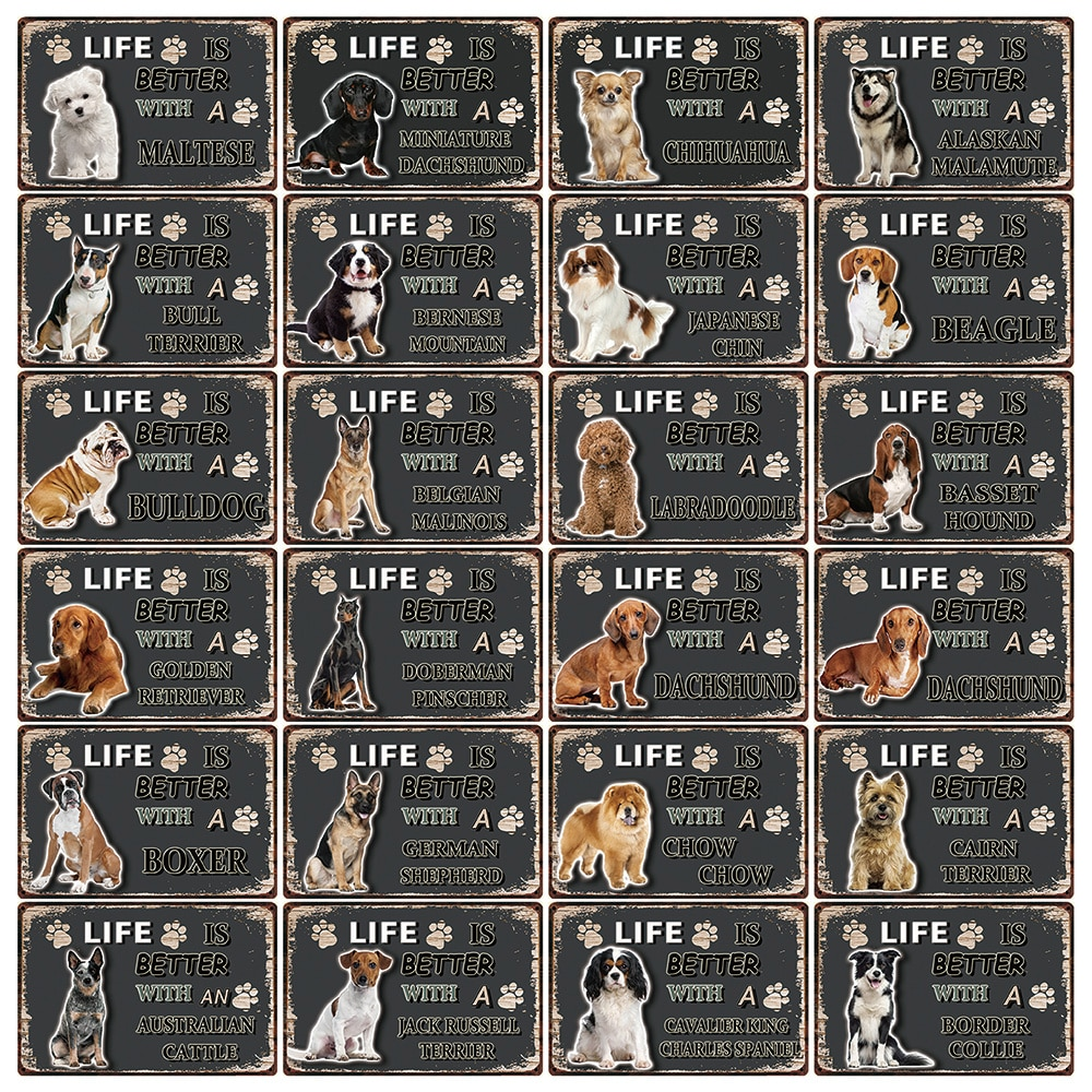 [Kelly66] Собаки Beagle Chow боксер бордер колли металлический знак Олово плакат домашний Декор Бар настенная живопись 20*30 см размер Dy103