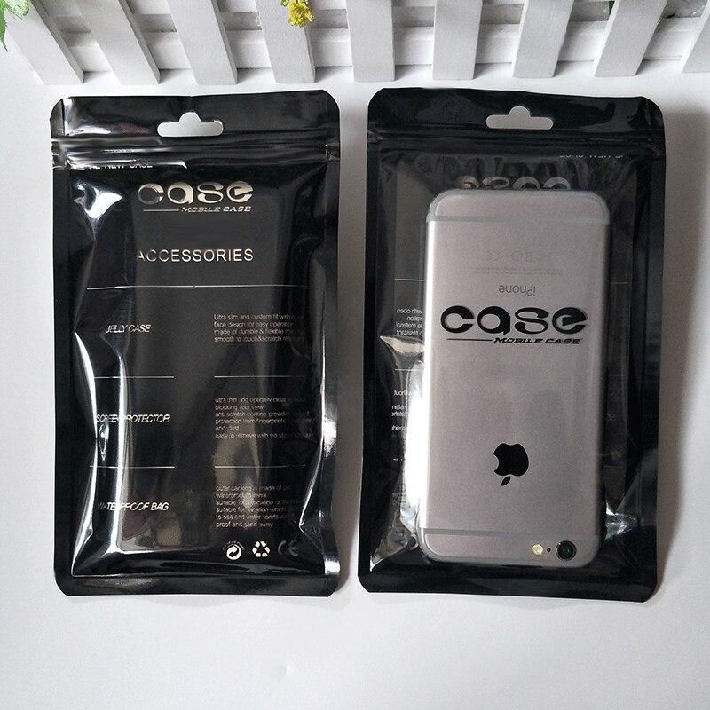 1000PCS Cell Phone Case Ziplock Bags Black White PP Plastic Cell Phone Pouchs Bags Packaging Ziplock Sealing Bag 12*21cm