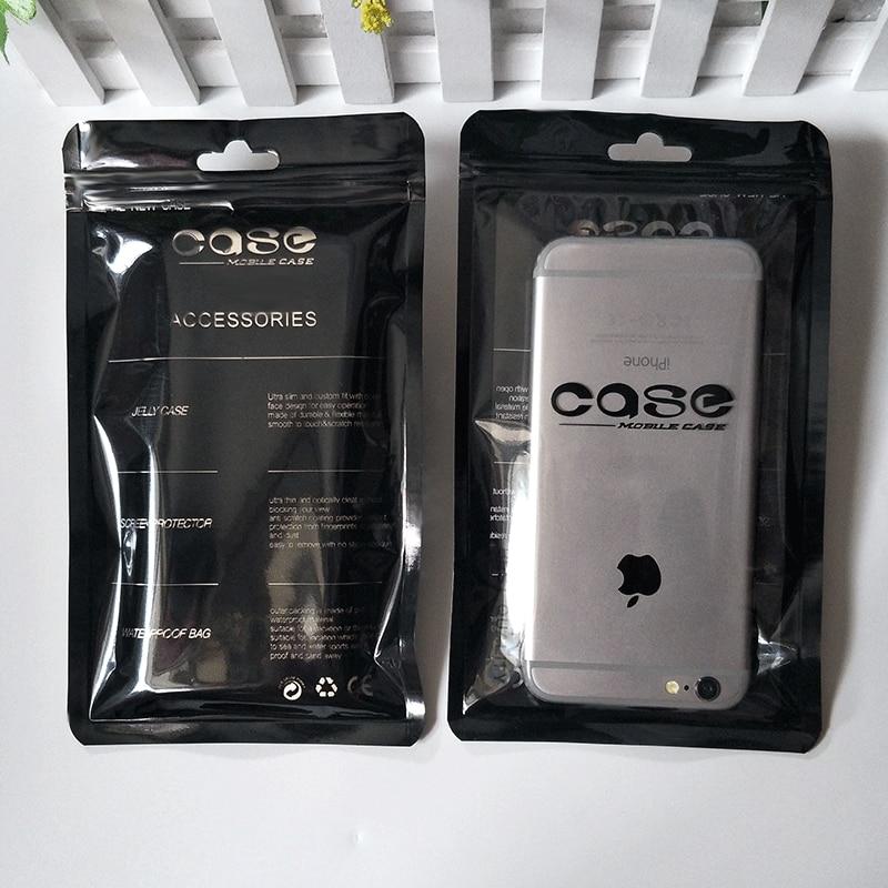 100 piezas funda de teléfono móvil Ziplock bolsas negro blanco PP plástico bolsa de teléfono móvil bolsas embalaje Ziplock bolsa de sellado 12*21cm