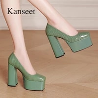 kanseet new 2021 autumn cow patent leather womens pumps party office lady super thick high heels slip on platform female shoes
