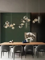 modern led chandelier clear glass ball long size pendant lamp for dining room bar restaurant coffee shop office hanging light