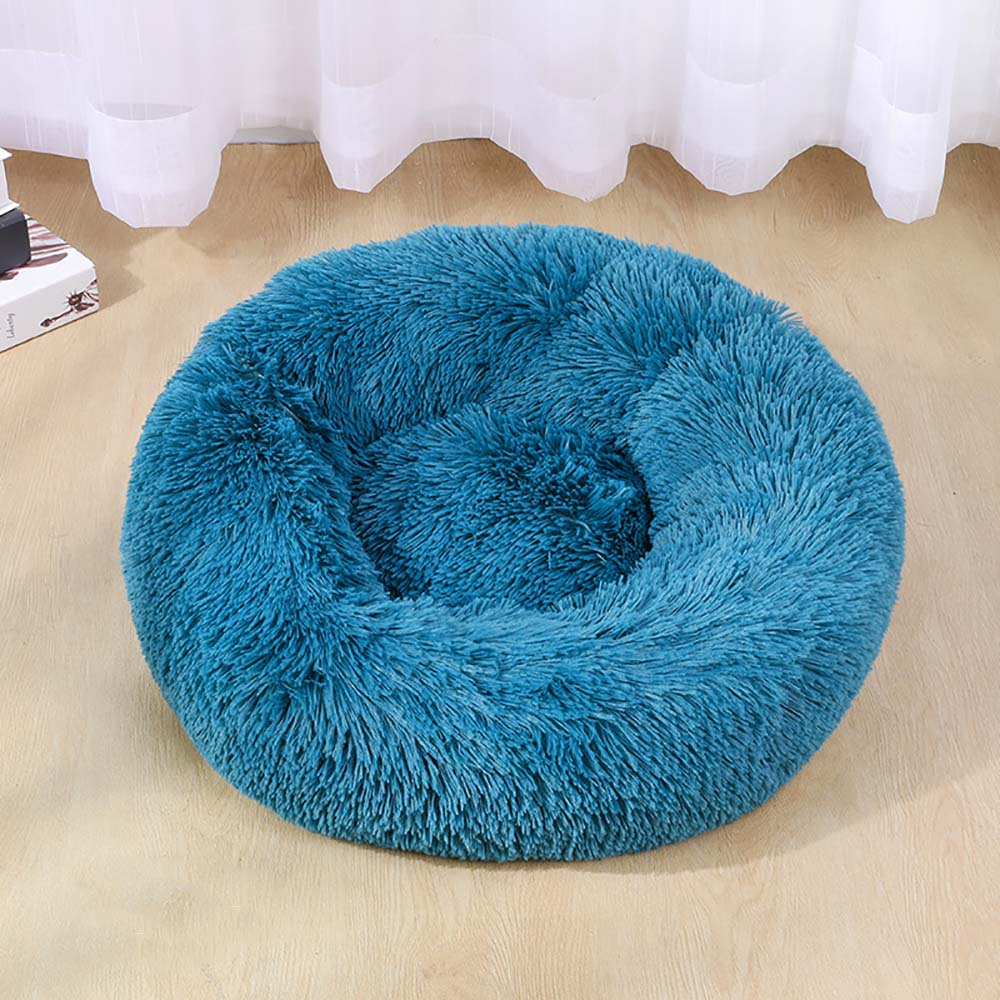 Perrera azul para mascotas, perrera larga de felpa, saco de dormir redondo Súper suave, tumbona, casa de gato, cesta de sofá cálido de invierno para perros bonitos