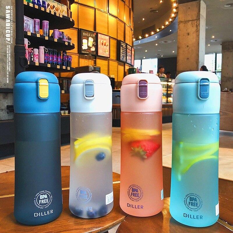 Botella de agua Popular de color gris para hombres para deportes al aire libre, botella de bebida portátil mi, botellas de plástico a prueba de fugas para leche y fruta para gimnasio