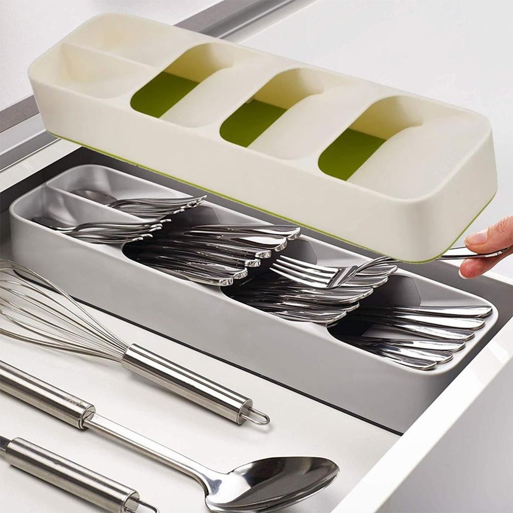 Nova bandeja de armazenamento cozinha gaveta organizador colher garfos talheres recipiente de separação de armazenamento decoração bandeja faca bloco titular