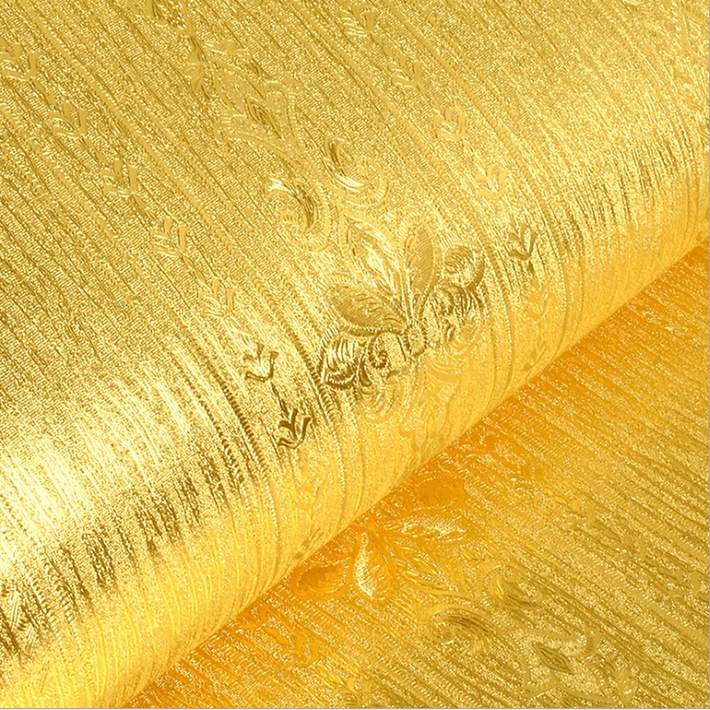Q QIHANG European Luxury Vertical Btripes Gold Foil Glitter KTV Buddhist Hall PVC Wallpaper Roll 0.53m*10m=5.3m2
