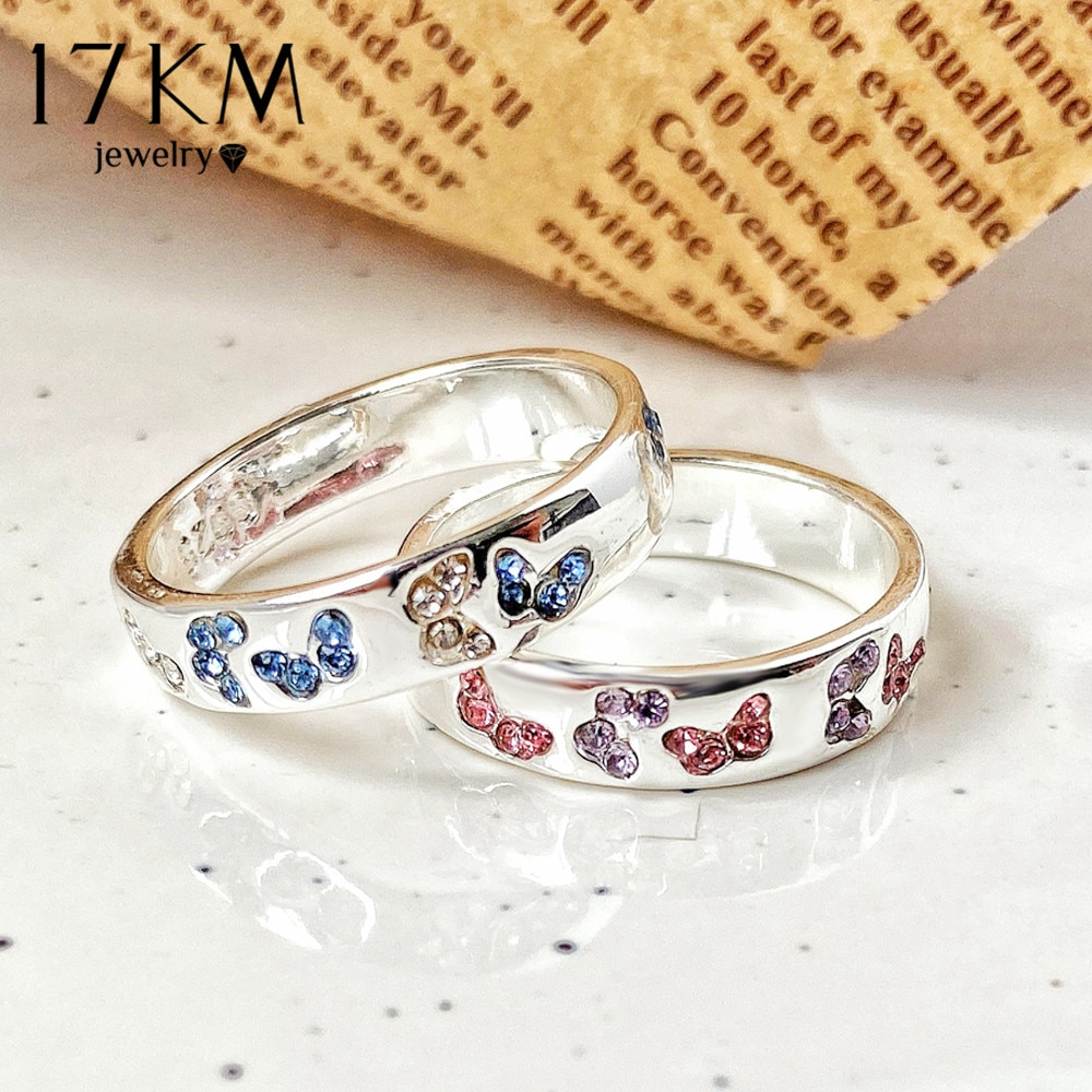 Anillo creativo de mariposa de cristal de Zirconia cúbica de 17KM para amantes de las mujeres, anillos de compromiso de Color plata 2020, joyería de moda