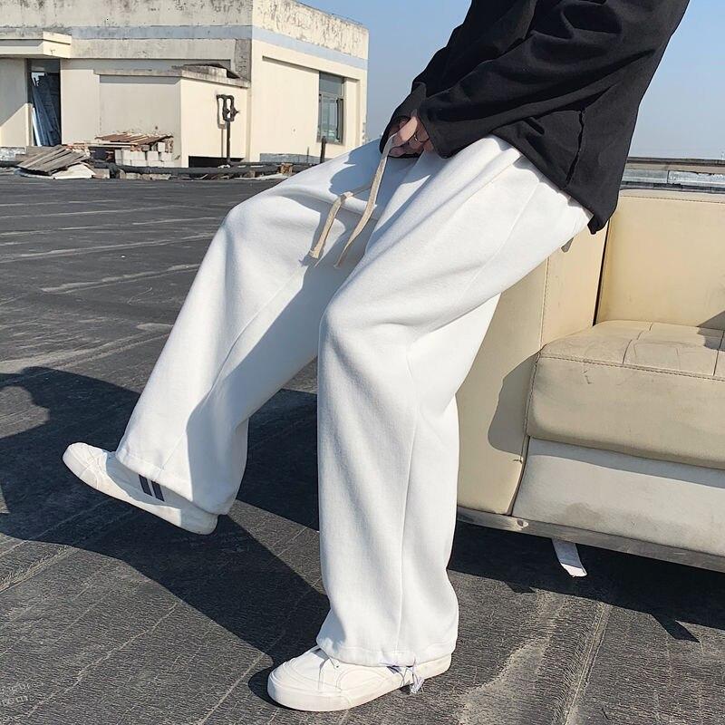 الربيع Sweatpants الرجال الأزياء السراويل الرجال الشارع الشهير الكورية فضفاض مستقيم واسعة الساق السراويل رجل ركض المسار السراويل S-2XL