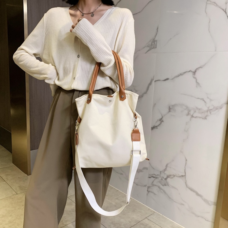 2020 nova moda bolsas femininas sacos de grande capacidade versátil bolsa de ombro lona dupla alça de ombro diagonal saco Bolsas de ombro    -