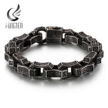 Fongten Vintage Engraving Square Bracelet Men Stainless Steel Black Cuff Punk Box Link Chain Custom Bangle Man Fashion Jewelry