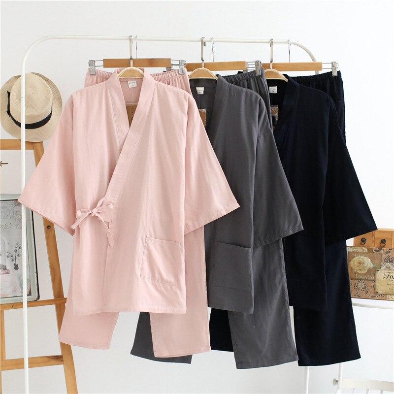 Conjuntos de pijamas de gasa y algodón de 100% para hombres y mujeres para verano, Conjunto de Pijama Retro con cuello de pico, conjunto de Kimono, ropa de dormir para parejas, ropa de casa nocturna