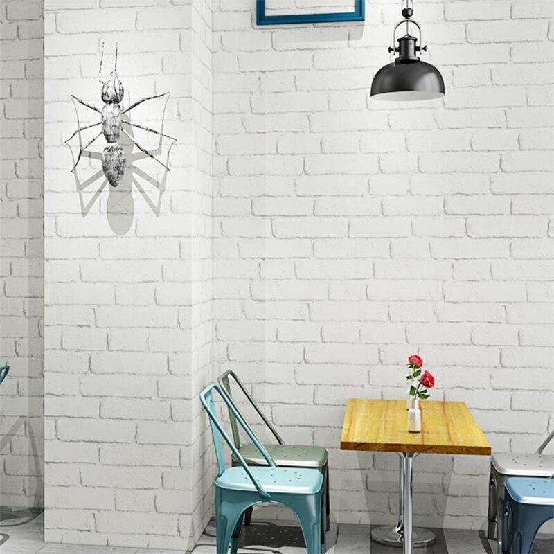 Papel pintado de ladrillo blanco wellyu, papel pintado nórdico de ladrillo pequeño blanco, tienda de peluquero, papel pintado de ladrillo blanco vintage impermeable