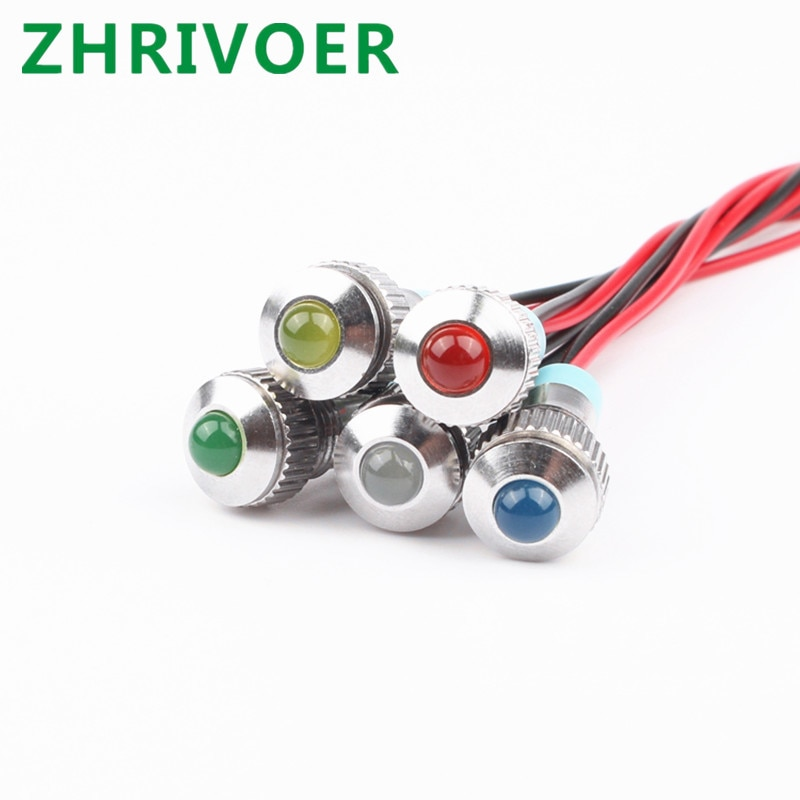 1 Uds 8mm 6V 12V 24V 220v cabeza convexa indicador LED de Metal luz 8mm lámpara de señal impermeable con cable rojo amarillo azul verde blanco
