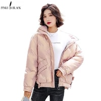 pinkyisblack new fashion female winter windproof jacket casual stand collar glossy sequins women winter parka short coat outwear
