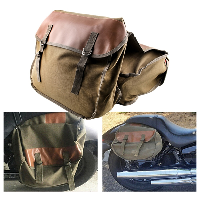 motorcycle canvas saddle bag back seat kit shoulder bag 2020 Universal Motorbike Organizer Accessories