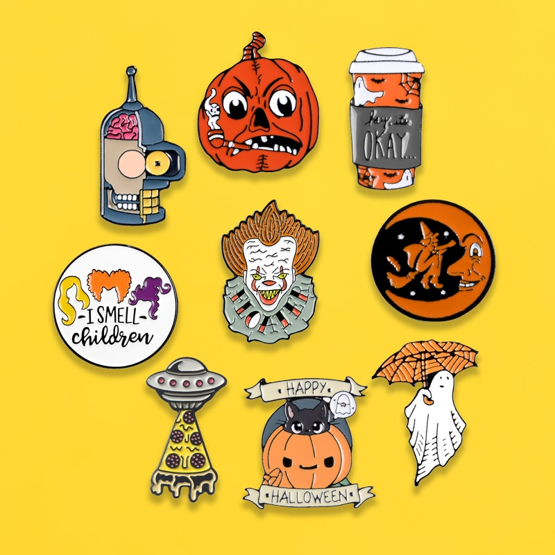 Halloween enamel pins Pumpkin clown Simpson robot horror badges brooches Clothes bag Lapel pins metal women accessories gifts