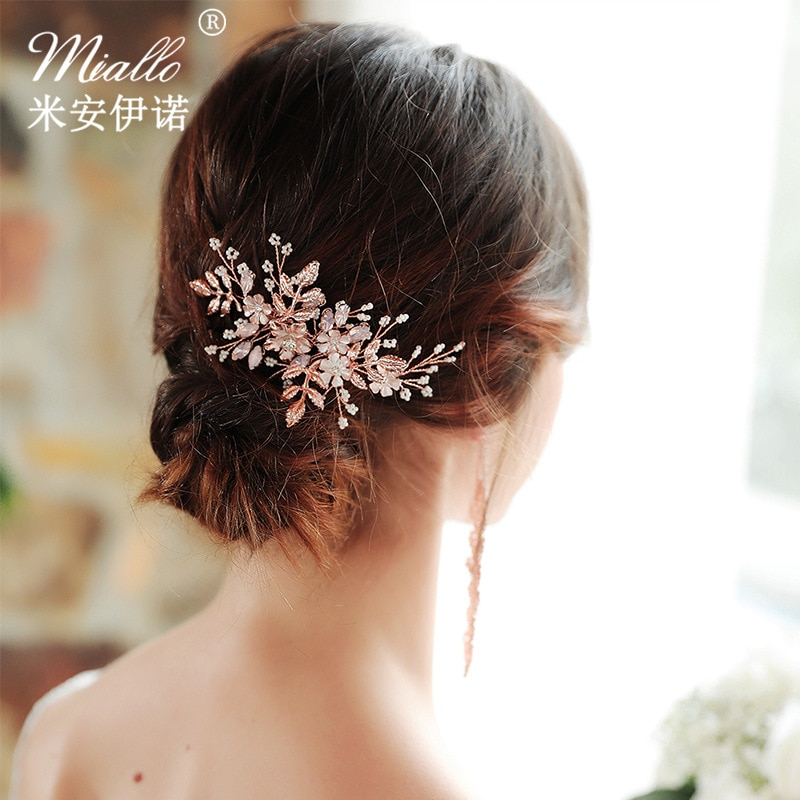 Diadema hecha a mano de oro rosa Tiara peines de diamantes de imitación de cristal Rosa accesorios para el cabello de boda tocado de novia joyería de moda