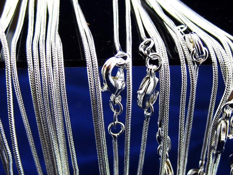 5 шт.% 2Flot +% 2816 18 20 22 24 дюймов% 29 Мода Ювелирные изделия 925 Стерлинг серебро Цепи 1 мм Змея Цепочка Ожерелье Ювелирные изделия
