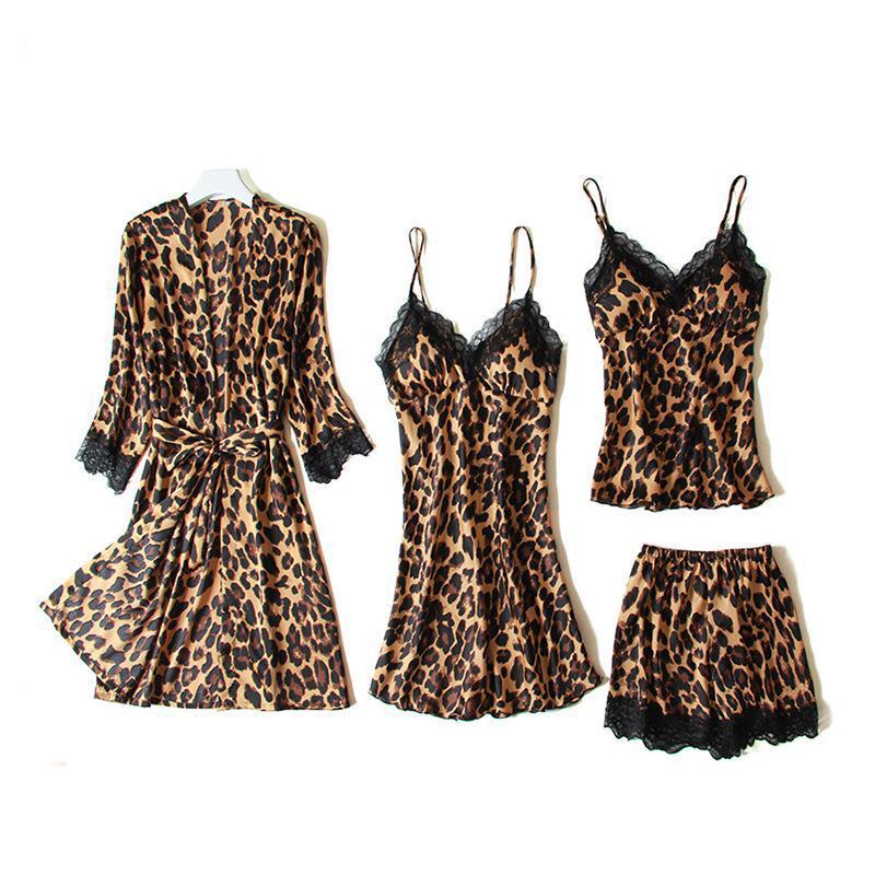 Conjunto de pijamas de satén de leopardo de 4 Uds., camisón estampado para mujer, sexi Kimomo de ropa de dormir, bata, lencería íntima, Top y pantalones cortos con tirantes Casuales