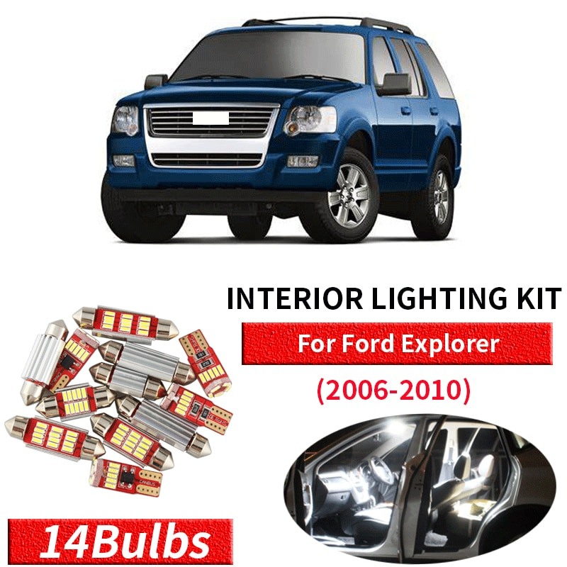 14 pçs branco canbus led interior do carro luzes pacote kit para 2006 2007 2008 2009 2010 ford explorer led interior luzes