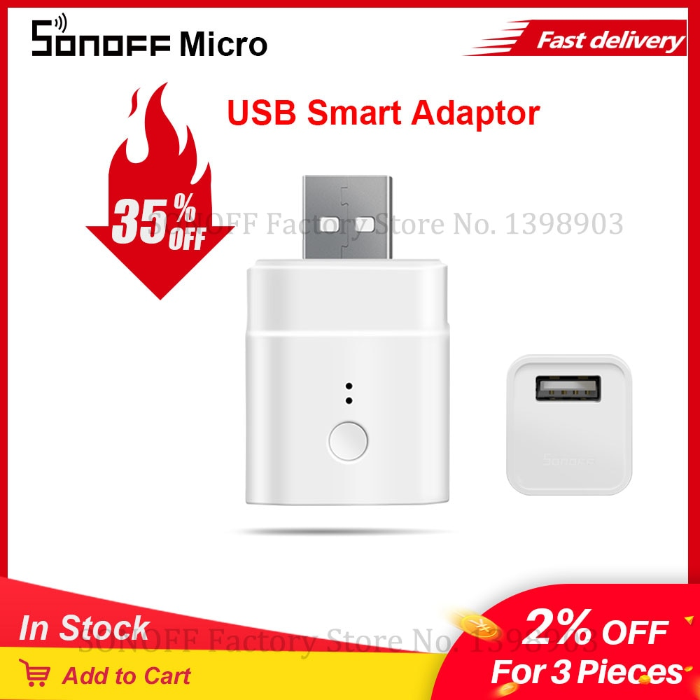 Itead Sonoff Micro 5V USB Wifi inteligente adaptador inalámbrico USB adaptador para domótica inteligente a través de eWeLink Alexa Google Home