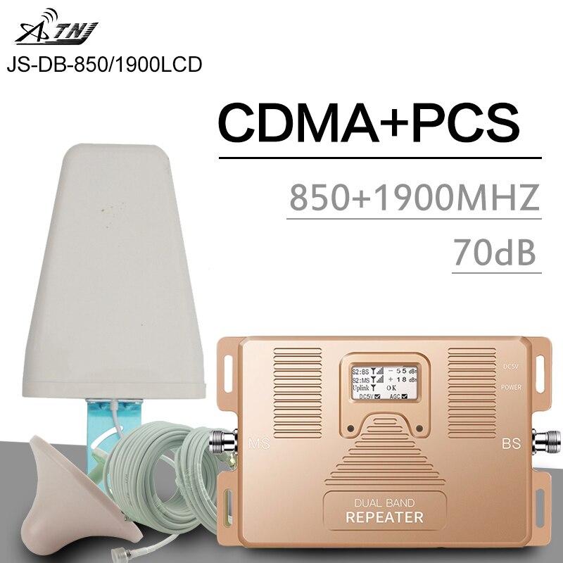 ATNJ 3G CDMA 850 Uds 1900 amplificador de señal de teléfono móvil UMTS 70dB ganancia LCD banda de visualización 2 3G amplificador de señal de doble banda repetidor