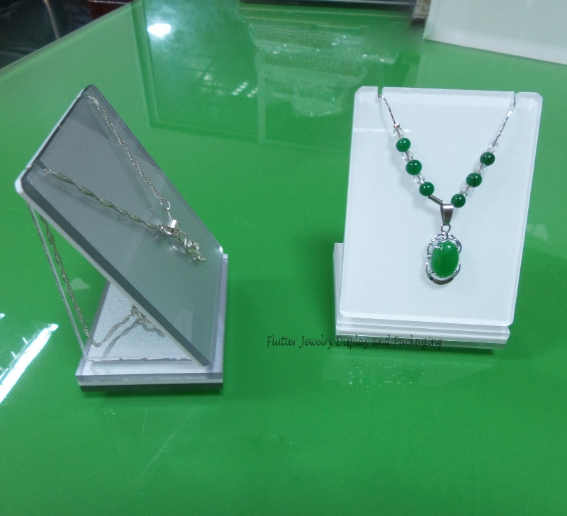 Expositor de colgante blanco, soporte de acrílico para collar, organizador para colgante, estuche de exposición, joyeros