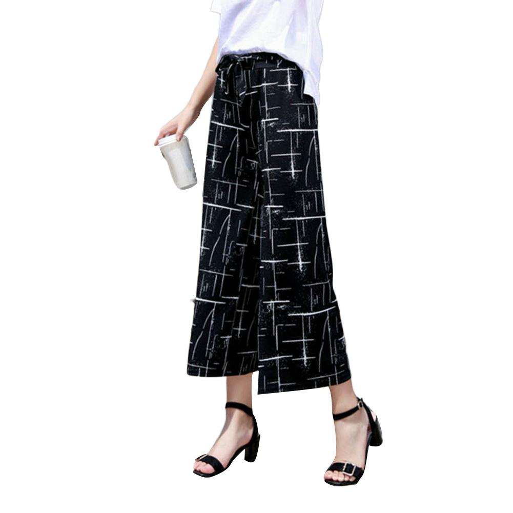 Fashion Women Stripe Loose Straight Wide Leg Drawstring Pants Ninth Trousers 2020
