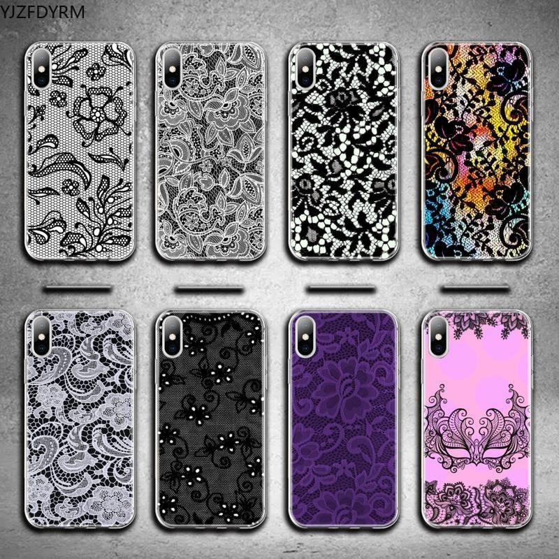 Sexy laço flor lado caso de telefone para iphone 12 pro max 11 pro xs max 8 7 6s plus x 5S se 2020 xr capa